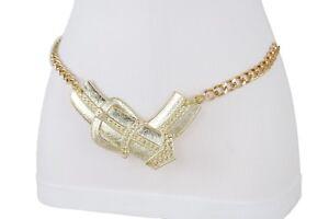 Cute Women Gold Metal Chain Fashion Belt Big Bulky Bling Buckle Charm XS S M