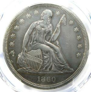 1860-O Seated Liberty Silver Dollar $1 Certified PCGS XF Detail (EF) - Rare Coin
