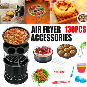 """129 PCS 8"""" Air Fryer Frying Cage Dish Baking Pan Rack Pizza Tray Pot Accessories"""