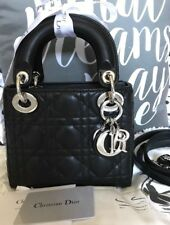 Authentic New Christian Dior Lady Dior Bag Black Leather & Silver Chain