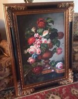 Antique Style Realism Oil Painting Still Life Floral Flower Bouquet Framed Art