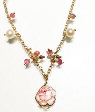 Gabriella Rivalta collana oro 18kt perle pietre rosa ciondolo smaltato 331GRSA1