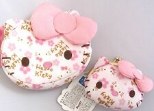 "Sanrio Hello Kitty Ume "" Plum "" Chirimen Cosmetic Pouch & Coin purse Japanese"
