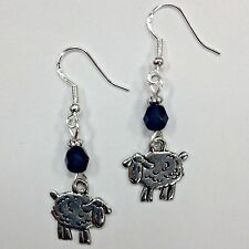 Sheep Earrings w/jet crystal beads, sterling silver earwires FREE SHIPPING