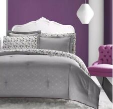 Betsey Johnson Grey Purple Skull Trellis Punk Love QUEEN Comforter Bed Set NEW