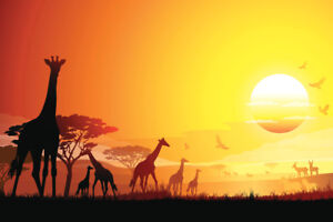 African Landscape with Herd of Giraffes Art Print Poster 18x12 inch
