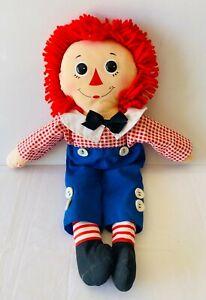 RAGGEDY ANDY Large Vintage Soft Plush Toy Cloth Rag 80s Doll 46cm FREE POST