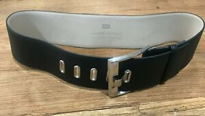 NWOT Cue Wide Black Leather Belt Size M