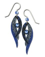 Handpainted Blue Black Gift Box Usa Adajio Earrings Folded Wings with Cabochon