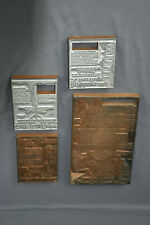 """Set of Four Antique Wood Printing Press Blocks, 7x10"""", approx 4x5"""" (3) Preowned"""