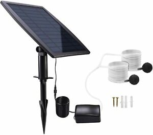 2.5W Solar Air Pump Kit Battery Backup with Hoses and Bubble Stones 3 Modes