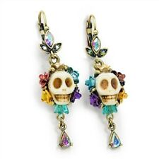 NEW SWEET ROMANCE/OLLIPOP GLASS CALAVERA SKULL & TEARDROP CRYSTAL EARRINGS BONE