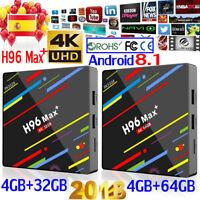 H96 Max Plus+ Android 8.1 Smart TV Box 4GB+64GB/32GB Quad-Core 64 bit 4K HD Wifi