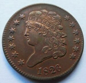 1826 Classic Head Half Cent - AU Details, Early Date 1/2C