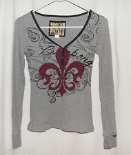 Billabong Long Sleeve Gray Ribbed Shirt / Top - Size Small