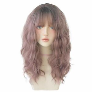 Korean 21 Inch Long Fluffy Curly Wavy Wig with Bang, Natural Heat-Resistant Wigs
