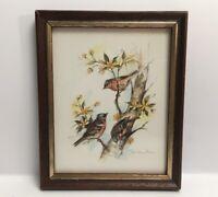 Vintage Print Of Birds On A Tree Branch Paul Whitney Hunter Framed
