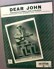 HANK WILLIAMS Sheet Music  DEAR JOHN  T. Ritter Publ. COUNTRY Western VOCAL