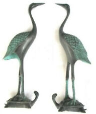 collectable Rare pair bronze statue cranes ferocious dragon turtle Figures 17cm