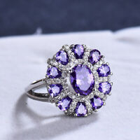 Sunflower Huge Natural Purple Amethyst Gemstone Silver Woman Ring size 6-10