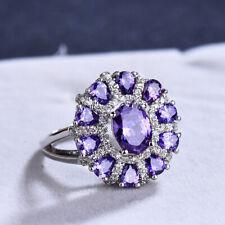Sunflower Huge Natural Purple Amethyst Gemstone Silver Woman Ring size 6-10