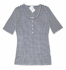 J Crew Factory - Women's XXL - NWT - Navy Blue Striped Ribbed Knit Henley Tee