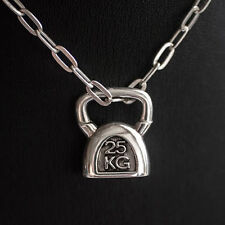 Kettlebell NECKLACE Kettle Bell Charm SILVER 925 Fitness Weightlifting crossfit