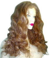 Human Hair Full Lace Thin Skin PU Wig Indian Remi Remy Long Bodywave Brown #6