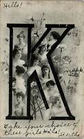 K Pretty women Published by H.G.Z. British 1907 Vintage Postcard AA-004