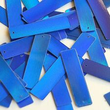 Blue Lazersheen Sequin Skinny Rectangle 1.5 inch Couture Loose Paillettes