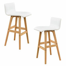 [en.casa] Set de 2 taburetes altos haya sillas de bar blancas muebles altos