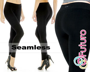 New Womens Black Soft Stretchy Seamless Full Length Polyamide Leggings 9810