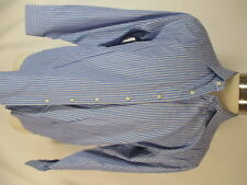 Etro Mens Blue Stripe Cotton Dress Shirt size 43 Italy Made 17-35