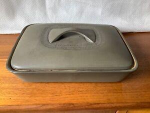 Rare Vintage Denby Camelot Olive Green Chevron Stoneware Lidded Serving Dish