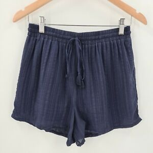 Seed Heritage Womens 100% Silk Shorts Size 8 Navy Elastic Waist Lined Tie Waist
