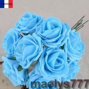 ** ROSES en mousse bleu **fleur artificielle décoration baptême, mariage.10pcs
