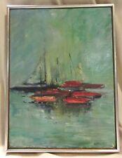 Vintage Mid Century Framed Original Sailboat Oil Painting , Signed Dottie Hill