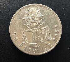 Mexico 1871 OaE (Large A) Silver Peso Coin