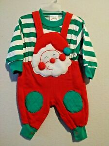 Vintage Hopscotch Baby Boy Size 0-6 Months Puffy Santa Christmas 2-Pc Outfit