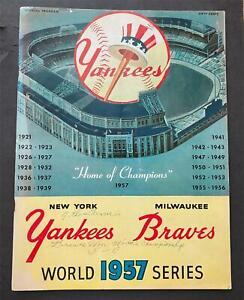 1957 World Series Program Game #7 Signed by Hank Aaron HOF-Steiner Sports