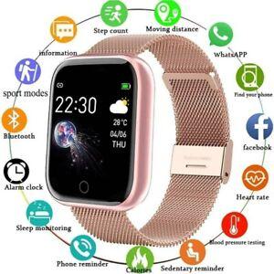 Damen Bluetooth Smartwatch Schrittzähler Armbanduhr Fitness Sport Tracker Rosa