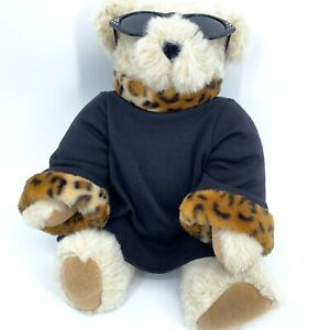 VTG Jointed Cream Vermont Teddy Bear Co, 16 inches tall w/ black dress sunglass