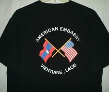 American Embassy Vientiane Laos T Shirt Size L America Asia Flag Nation Country