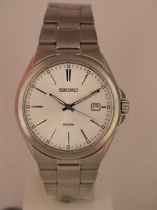 Seiko men watch 7N42 casual silver dial SGEE27