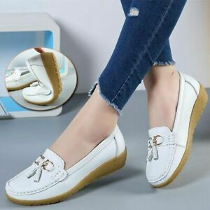 Women Flats Shoes Leather Breathable Shoes Women Boat Shoes Ladies Casual Shoes