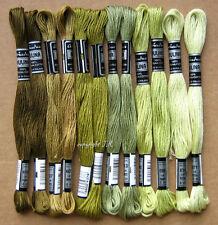Stickgarn Moosgrün Oliv-Grün 12 Docken Sticktwist Baumwolltwist sticken -02
