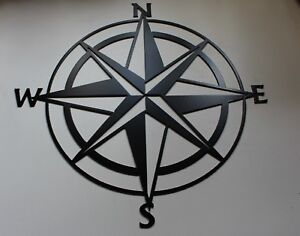 "Nautical Compass Rose Metal Art - Black - 20"""