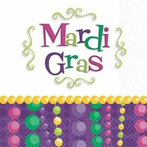 Mardi Gras Celebration Beads Holiday Theme Party Paper Beverage Napkins