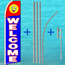 Welcome Feather Flutter Flag + 15' Pole + Mount Swooper Banner Advertising Sign