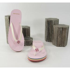 Tory Burch Mini Minnie New Ivory Preppy Pink Rubber Flip Flop Sandals 7 NIB